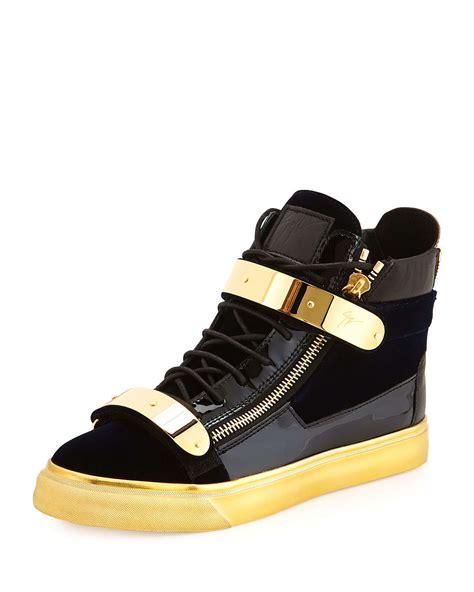 giuseppe zanotti mens velvet high top sneaker in blue for