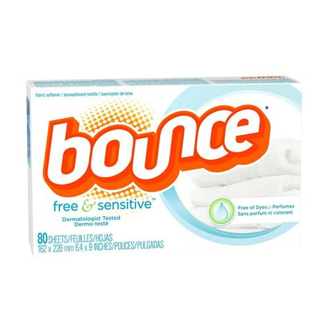 bounce dryer sheets bounce free and sensitive dryer sheets 80 count 003700080070 the home depot