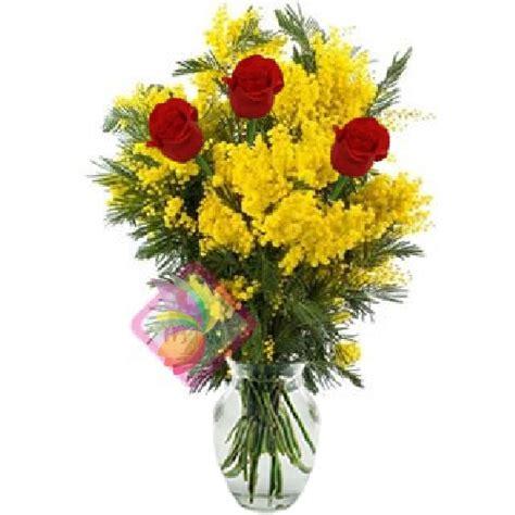 mimose fiori tre rosse e mimosa spediamo fiori dolci e regali a