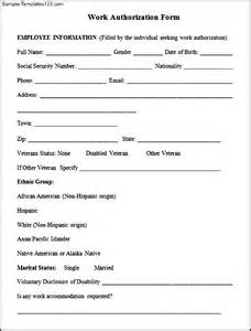 additional work authorization template work authorization form template 40 order form templates