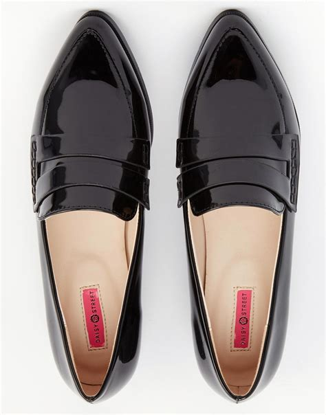 Flat Toe Loafers patent pointed toe loafer flat shoes in black