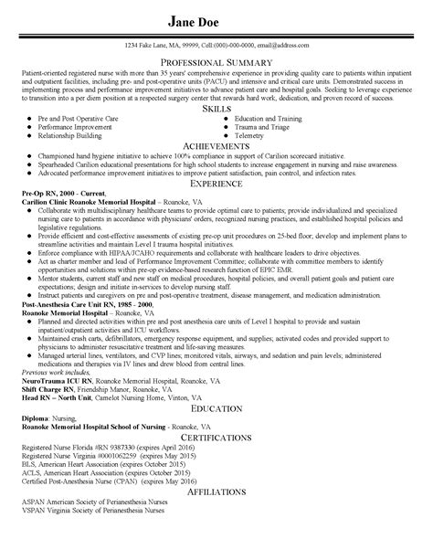 Nursery Resume Summary Professional Pre Post Op Templates To Showcase Your Talent Myperfectresume