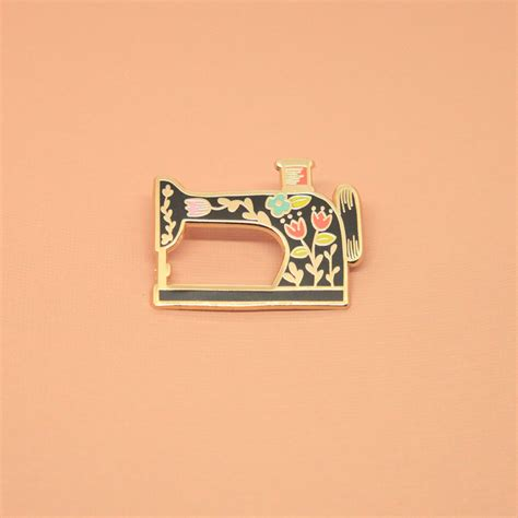 Pin Enamel black vintage style sewing machine pin listing for one