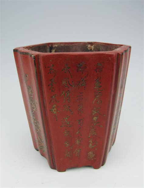 wooden pattern holder chinese antique lacquer wooden brush holder w flower