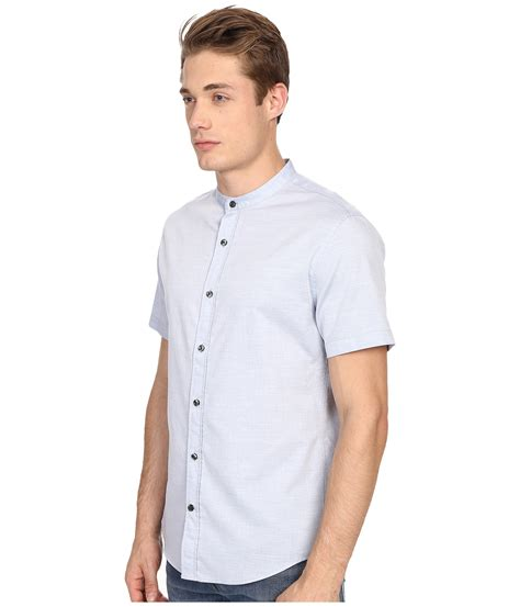 Melange Sleeve Shirt vince melange banded collar sleeve shirt in