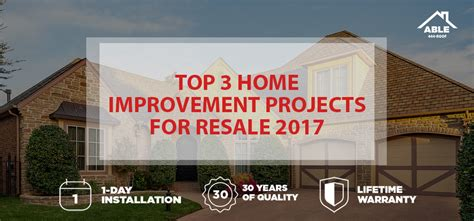 top 3 home improvement projects for resale 2017 able roof
