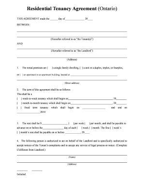 printable rental agreement form bc form rental ontario fill online printable fillable