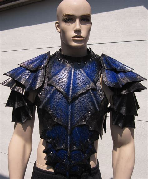Pattern Blue Dragonscale Shoulders | dragon scale chest and shoulders by sharpmountainleather
