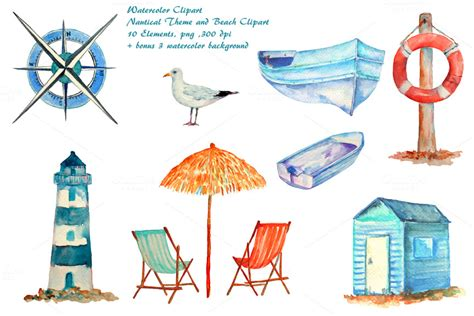 the open boat lighthouse symbol watercolor nautical clipart illustrations on creative market