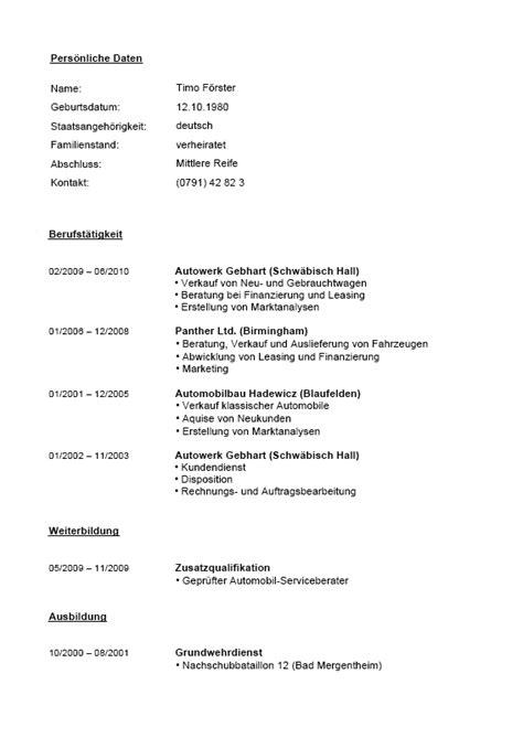 Lebenslauf Muster Agentur F R Arbeit bewerbungs paket automobilkaufleute muster f 252 r