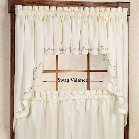 Forget me not embroidered window valances