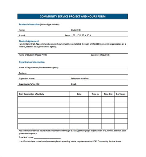 14 Service Hour Form Templates To Download For Free Sle Templates Community Service Form Template