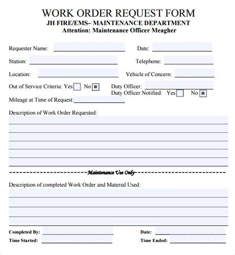 order form template word create maintenance form examples like this