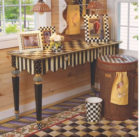 mackenzie childs l mackenzie childs courtly stripe console table fast shipping