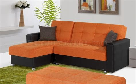 Orange Microfiber Sofa by Lego Sectional Sofa Convertible In Orange Microfiber By