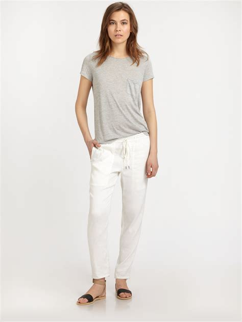 vanessa de leon vince stretch linen jogger pants in white lyst gallery