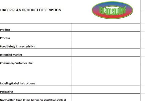product description template haccp plan form templates usa food solutions