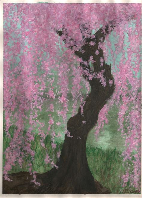 weeping cherry blossom tree by kantuya on deviantart