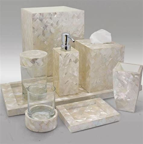 pin gail deloach bath accessories mother of pearl white on