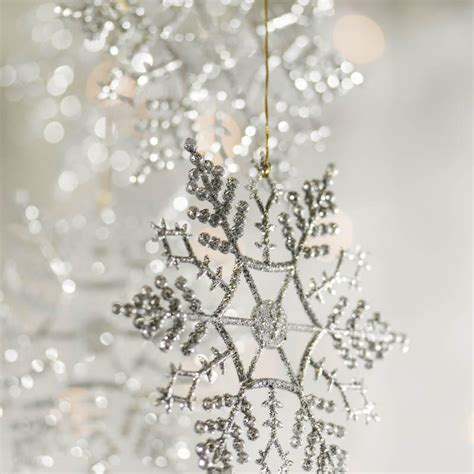silver glitter snowflake ornaments christmas ornaments