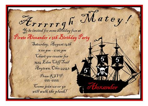 Pirate Birthday Party Invitations Wording Free Invitation Templates Drevio Pirate Birthday Invitation Template