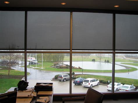 corportate office motorized shades modern window
