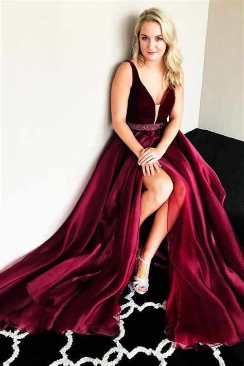 Line Slit gorgeous a line burgundy prom dress with side slit
