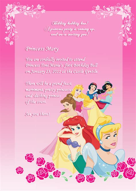 printable birthday invitations disney princess free free disney princess invitation templates