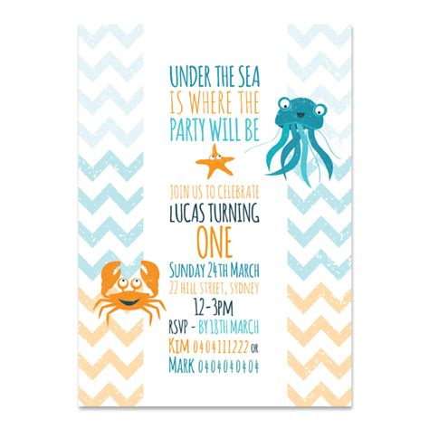 printable under the sea birthday invitations printable custom birthday party invitation under the sea