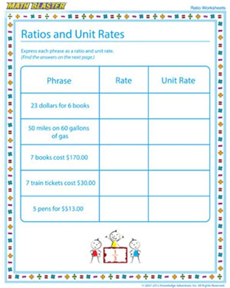 printable math worksheets unit rate ratios and unit rates ratio worksheet free printables