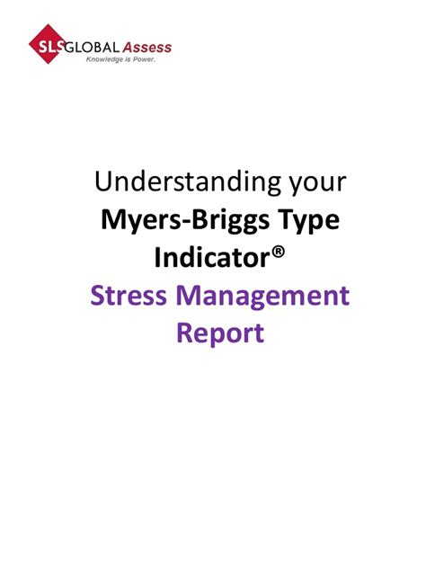 Stress Management Project Report Mba by Mbti Stress Management Report