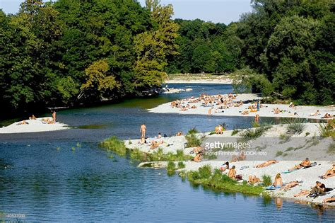 Englischer Garten München Cruising by Sunbathing At The Banks Of The River Isar