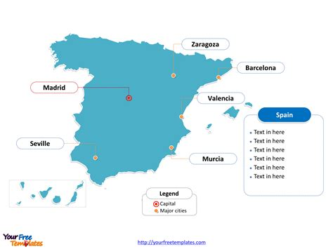 map of spain with cities free spain powerpoint map free powerpoint templates