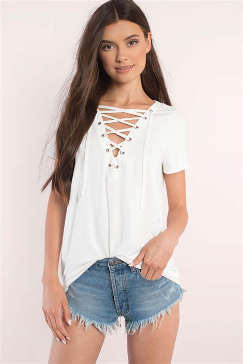To Trendy White trendy black top lace up top black top black