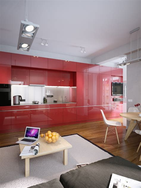 red kitchen modern red apartment for a young couple visualized