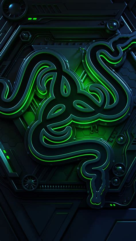 wallpaper razer logo dark background  green hd