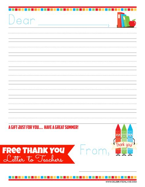 Thank You Note For Of The Year Free Thank You Letter Gift Idea