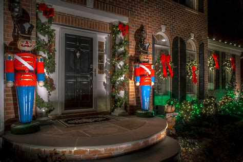 holiday decor toy soldiers and christmas lights