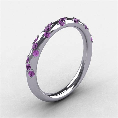 bridal 10k white gold lilac amethyst wedding band