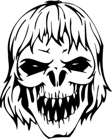 zombie head coloring page ausmalbild be 228 ngstigender zombie sch 228 del ausmalbilder