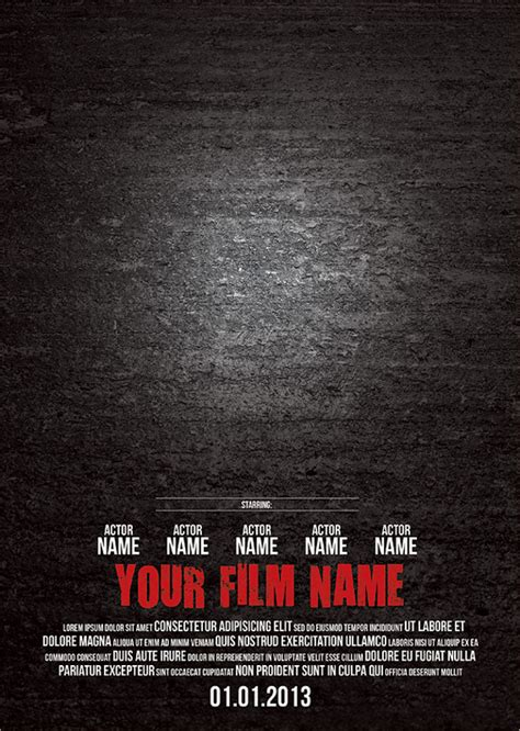 printable movie poster 9 blank movie posters free psd vector eps format