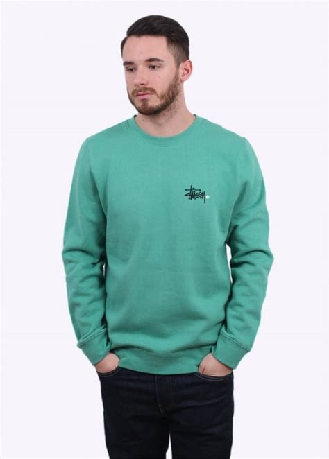 Hoodie Sweater Stussy 1 stussy basic logo sweater green sweatshirts from triads uk