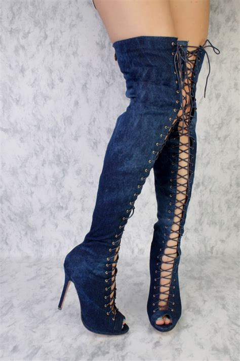 washed denim front lace peep toe thigh high boots faux suede