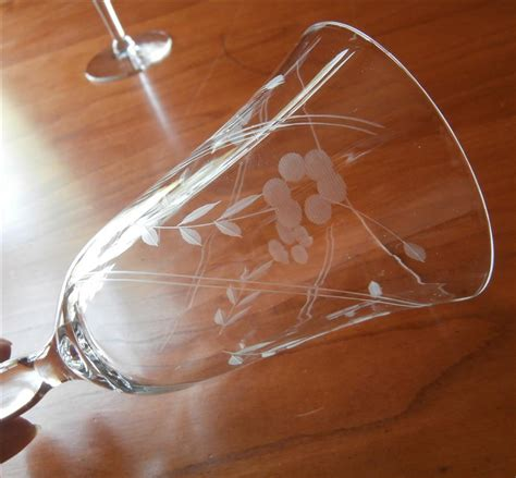 vintage chagne glasses wine glasses water vintage engraved stemware 1940s 9 from