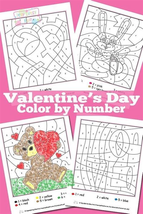 valentines color by number valentines day color by numbers worksheets color by