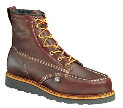 thorogood 814 4266 usa made 6in brown moc toe black wedge
