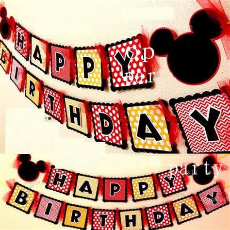 Bunting Banner Hbd Mickey Mouse Segilima baby shower mickey mouse bunting 1 banner bag 15 flags per bunting favors happy