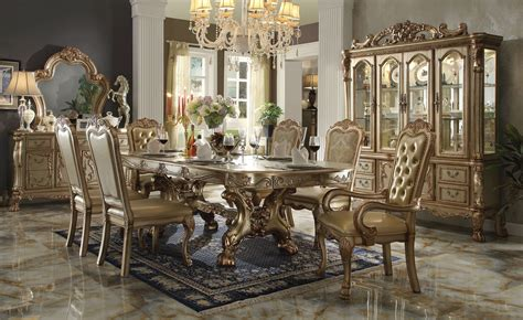 Gold Patina Dresden Dining Set By Acme Furniture Dining Table Price In Usa