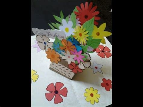 gift box pop up card template how to make pop up gift box of flowers card tutorial for