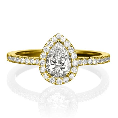 pear shaped engagement ring 14k gold engagement ring 0 5 1
